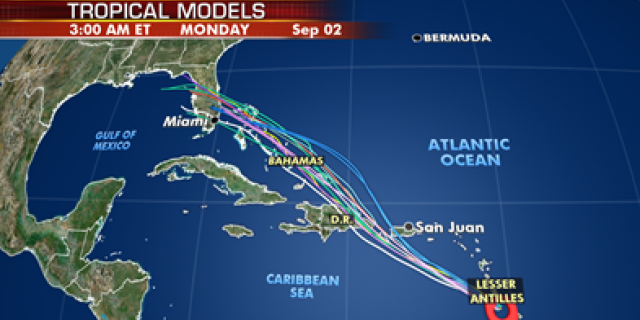 What tropical models are saying about the potential path for Tropical Storm Dorian.