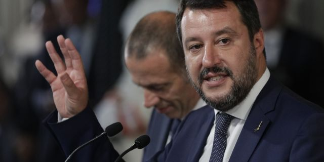The League party leader Matteo Salvini talks to journalists after meeting with Italian President Sergio Mattarella at Rome's Quirinale presidential palace, Wednesday, Aug. 28, 2019.