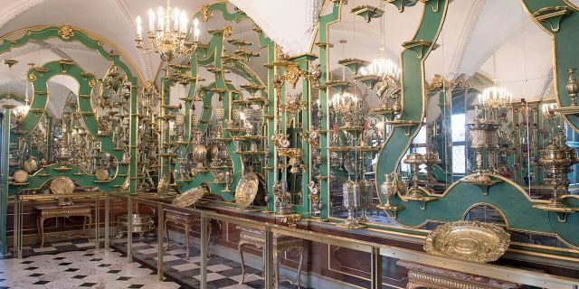 This Tuesday April 4, 2019 photo shows a part of the collection at Dresden's Green Vault in Dresden. Authorities in Germany say thieves have carried out a brazen heist at Dresden's Green Vault, one of the world's oldest museum containing priceless treasures from around the world. (Sebastian Kahnert/dpa via AP)