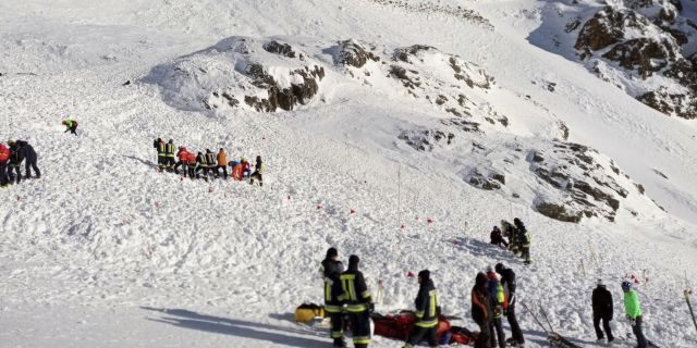 Rescuers at work following an avalanche in Val Senales, Saturday, Dec. 28, 2019.