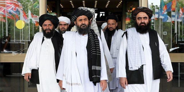 Members of a Taliban delegation leaving after peace talks with Afghan senior politicians in Moscow in May 2019.