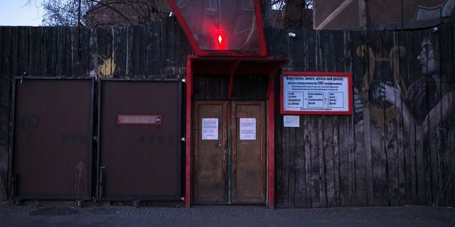 This March 25, 2020, photo, shows an entrance to the closed music club Wilde Renate in Berlin, Germany. (AP Photo/Markus Schreiber)
