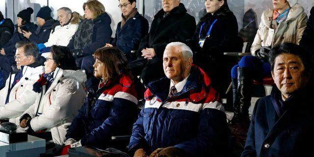 Vice President Mike Pence, second from bottom right, sits between second lady Karen Pence, third from bottom left, and Japanese Prime Minister Shinzo Abe at the opening ceremony of the 2018 Winter Olympics in Pyeongchang, South Korea, Friday, Feb. 9, 2018. Seated behind Pence are Kim Yong Nam, third from top right, president of the Presidium of North Korean Parliament, and Kim Yo Jong, second from top right, sister of North Korean leader Kim Jong Un. (AP Photo/Patrick Semansky, Pool)