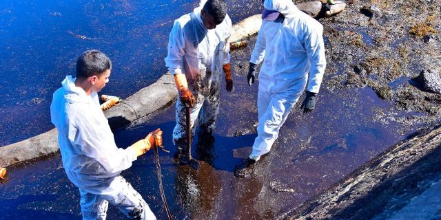 Volunteers take part in the clean up operation in Mahebourg, Mauritius Wednesday Aug. 12, 2020 surrounding the oil spill from the MV Wakashio.
