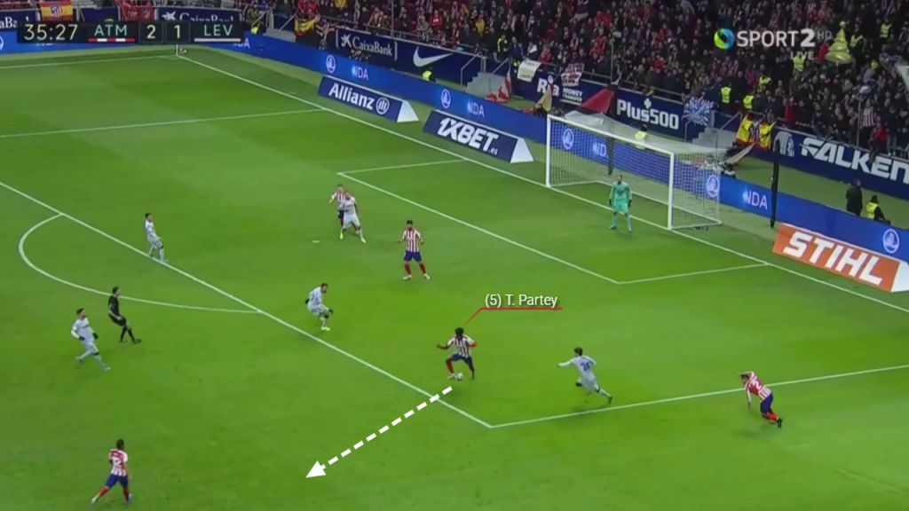 MADRID - SPAIN: Partey picks up the ball on the edge of the Atletico box and drives forward showing his effectiveness on the ball. (Source: Wyscout)