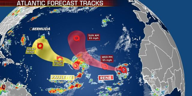 The forecast track of Tropical Storms Paulette and Rene.