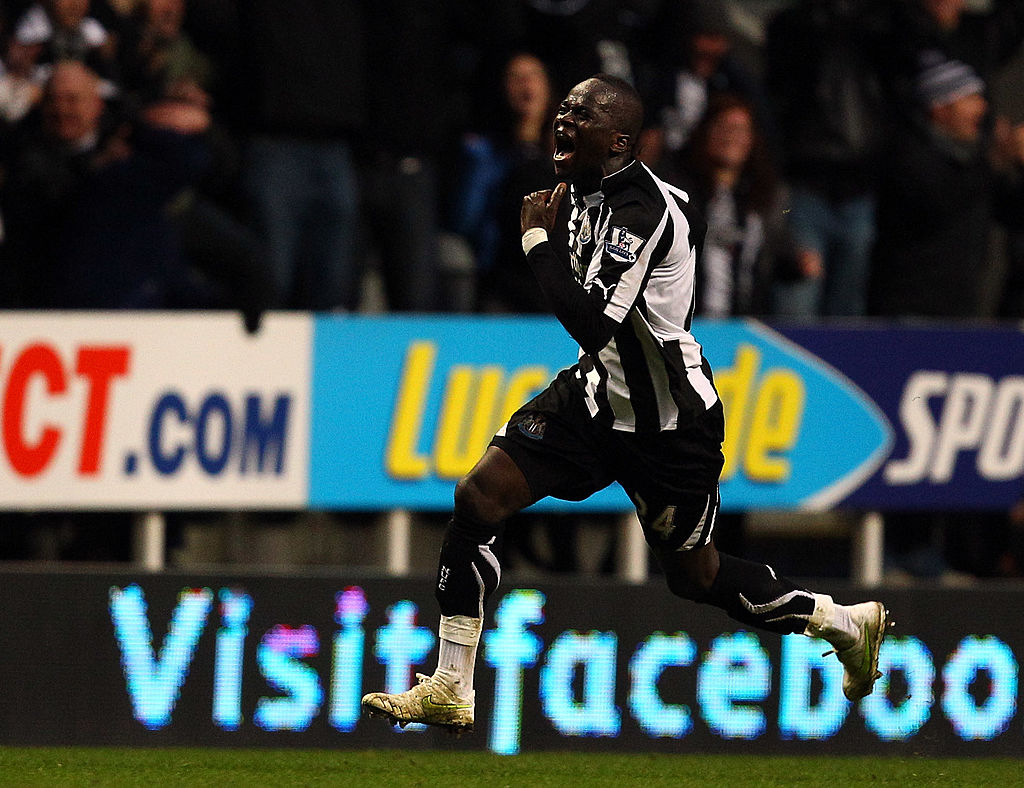 Cheick Tiote after scoring for Newcastle v Arsenal in the famous 4-4 draw