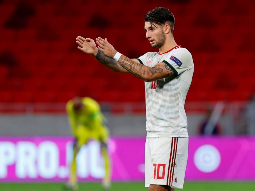 BUDAPEST, HUNGARY - SEPTEMBER 6: Dominik Szoboszlai of Hungary reacts during the UEFA Nations League group stage match between Hungary and Russia at Puskas Arena on September 6, 2020 in Budapest, Hungary. (Photo by Laszlo Szirtesi/Getty Images)