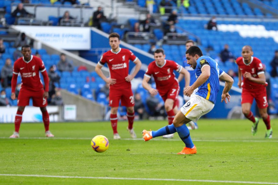 Brighton's Neal Maupay suffers injury following penalty miss vs Liverpool