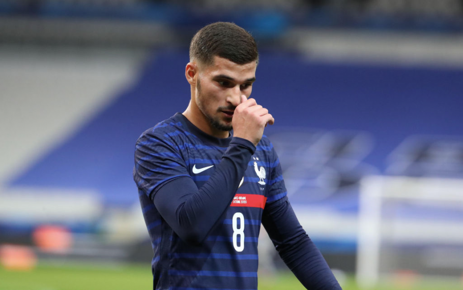 PARIS, FRANCE - OCTOBER 7: Houssem Aouar of France reacts during the international friendly match between France and Ukraine at Stade de France on October 7, 2020 in Paris, France. (Photo by Xavier Laine/Getty Images)