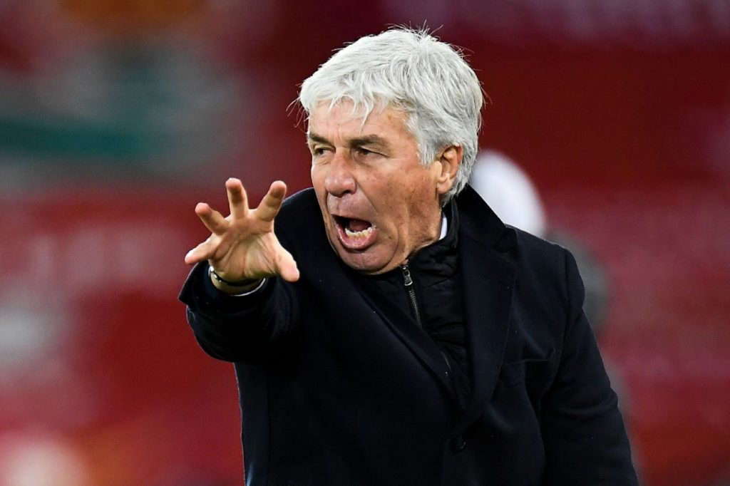 LIVERPOOL, ENGLAND - NOVEMBER 25: Gian Piero Gasperini, Head Coach of Atalanta B.C. reacts during the UEFA Champions League Group D stage match between Liverpool FC and Atalanta BC at Anfield on November 25, 2020 in Liverpool, England. Sporting stadiums around the UK remain under strict restrictions due to the Coronavirus Pandemic as Government social distancing laws prohibit fans inside venues resulting in games being played behind closed doors. (Photo by Peter Powell - Pool/Getty Images)