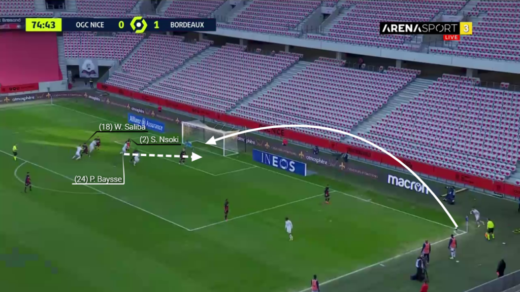 At the corner, Saliba is goal side of his marker. Unfortunately, Nsoki loses the ground on his man Baysse who runs ahead.