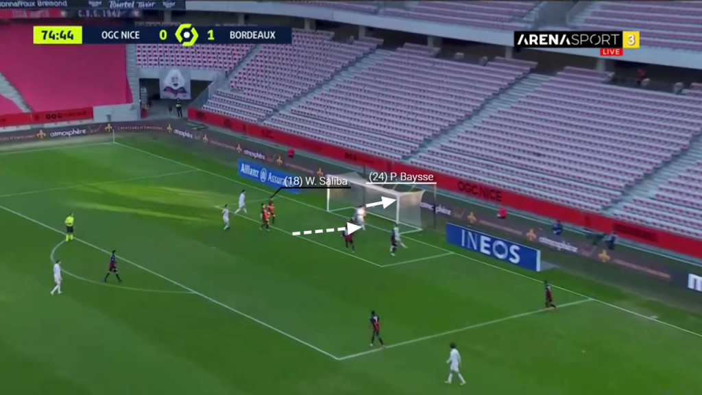 Baysse easily climbs to reach the cross and scores. It should be noted Saliba remains goal side of his man throughout the goal.