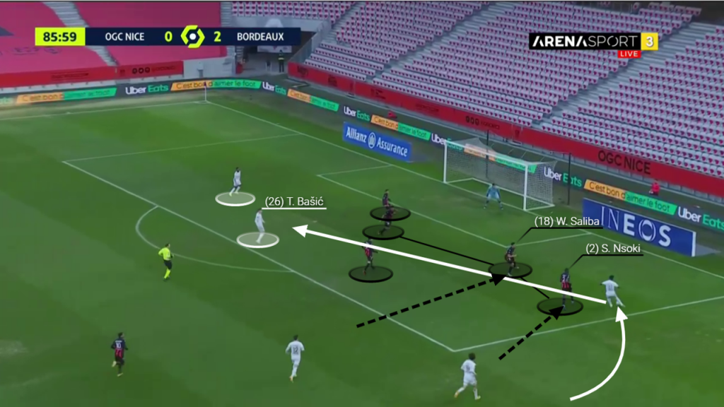 Nsoki makes little effort to block the corss as Saliba is again forced to close down the attacking Bordeaux winger. His teammates in the box are marking horrifically and manage not to pick up a single player despite outnumbering them.