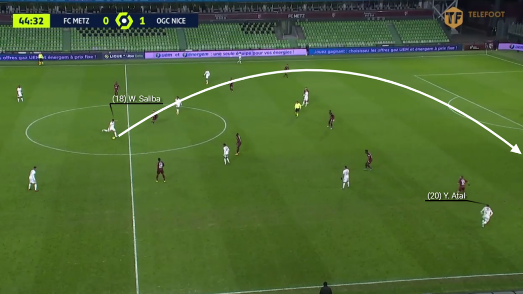 Another example but to the opposite flank. Saliba sprays a pass to the wide right-hand side.