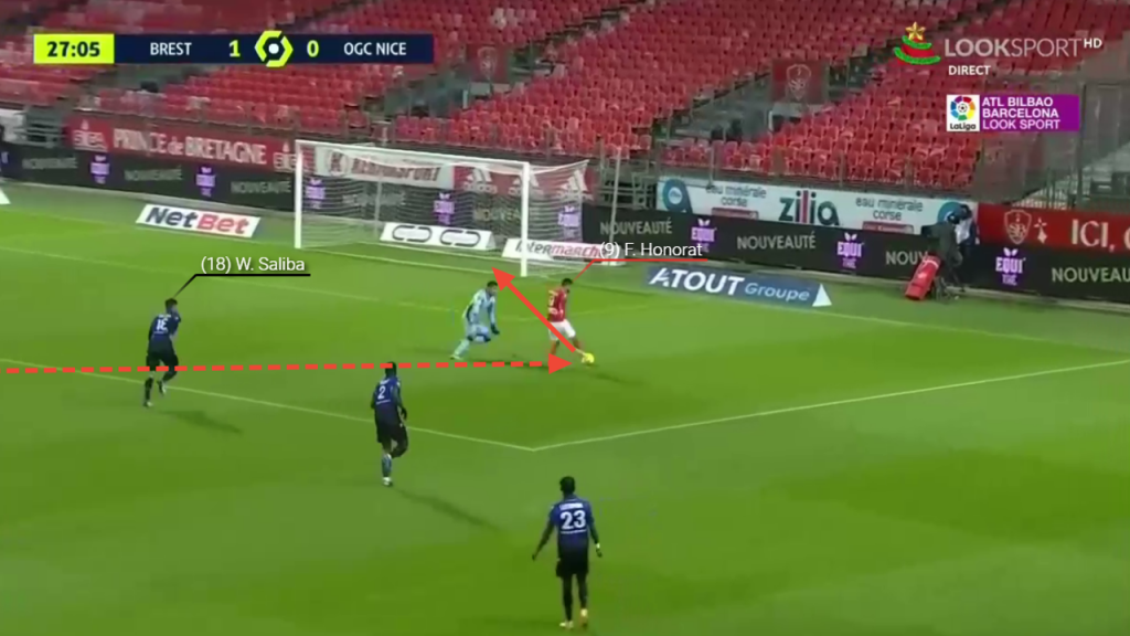 Honorat accelerates onto the pass which was incredibly underpowered, rounds the keeper and scores.