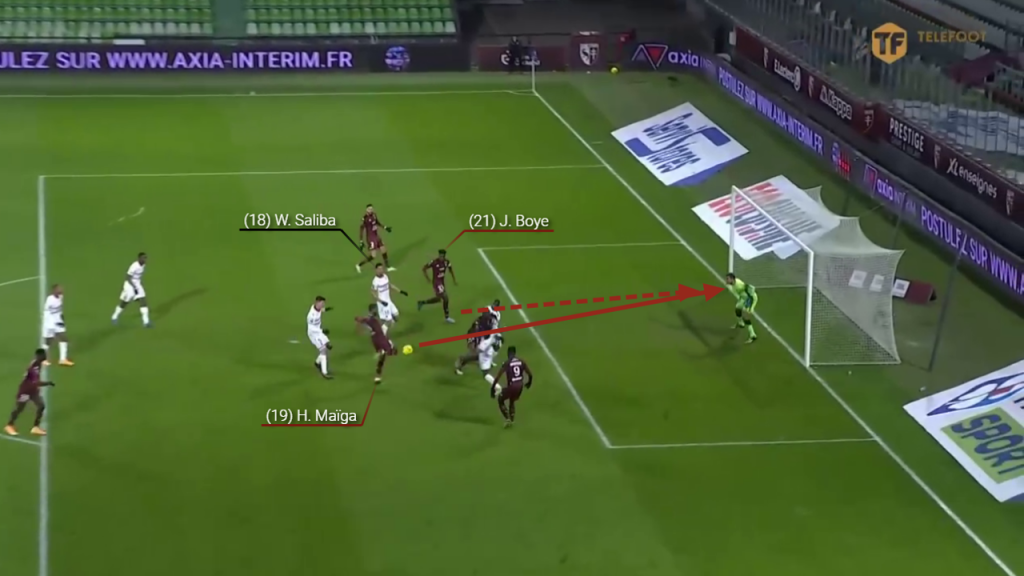 Maiga is able to take the ball and strike towards goal. Boye instinctive follows the shot in with Saliba focused on the forward's strike.