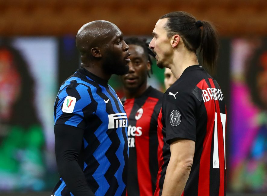 Former Man United teammates collide as Lukaku & Ibrahimovic come close to blows in tense Milan derby