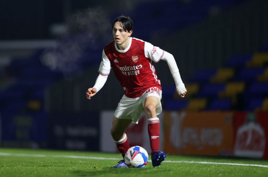 Who is the Arsenal youth left-back Joel Lopez spotted in first team training after Kieran Tierney injury?