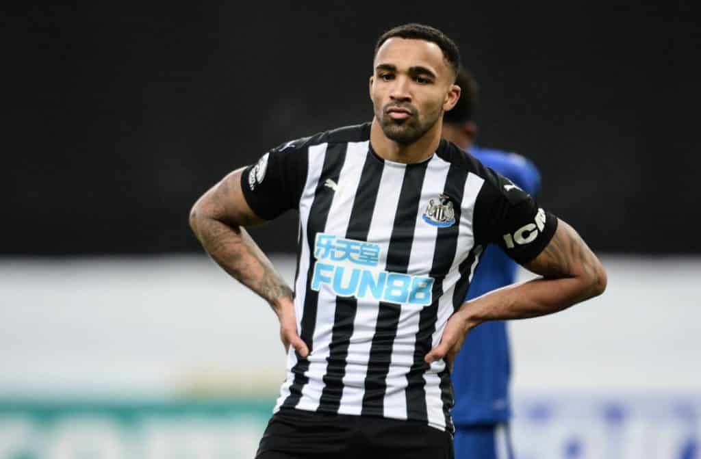 NEWCASTLE UPON TYNE, ENGLAND - JANUARY 03: Callum Wilson of Newcastle United (13) during the Premier League match between Newcastle United and Leicester City at St. James Park on January 03, 2021 in Newcastle upon Tyne, England. The match will be played without fans, behind closed doors as a Covid-19 precaution. (Photo by Serena Taylor/Newcastle United via Getty Images)